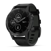 Часы Garmin Fenix 5 Plus Sapphire, Black with Black Leather Band