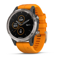 Часы Garmin Fenix 5 Plus Sapphire, Titanium with Solar Flare Orange Band