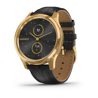 Garmin Vivomove Luxe 24K Gold PVD Stainless Steel Case with Black Embossed Italian Leather Band