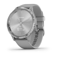 Garmin Vivomove 3 Silver Stainless Steel Bezel with Powder Gray Case and Silicone Band