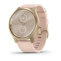 Garmin Vivomove Style Light Gold Aluminum Case with Blush Pink Woven Nylon Band