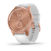 Garmin Vivomove Style Rose Gold Aluminum Case with White Silicone Band