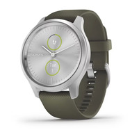 Garmin Vivomove Style Silver Aluminum Case with Moss Silicone Band