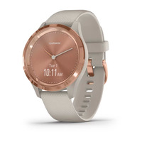 Garmin Vivomove 3s Rose Gold Stainless Steel Bezel with Light Sand Case and Silicone Band