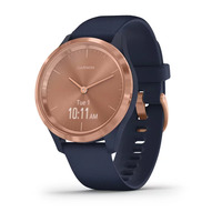 Garmin Vivomove 3s Rose Gold Stainless Steel Bezel with Navy Case and Silicone Band