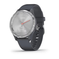 Garmin Vivomove 3s Silver Stainless Steel Bezel with Granite Blue Case and Silicone Band