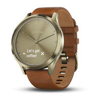 Garmin Vivomove HR Gold with Light Brown Leather Band