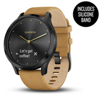 Garmin Vivomove HR Onyx Black Stainless Steel Case with Tan Suede Band
