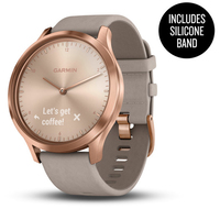 Garmin Vivomove HR Rose Gold Stainless Steel Case with Gray Suede Band