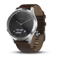Garmin Vivomove HR Silver with Dark Brown Leather Band