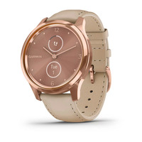 Garmin Vivomove Luxe 18K Rose Gold PVD Stainless Steel Case with Light Sand Italian Leather Band
