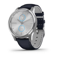 Garmin Vivomove Luxe Silver Stainless Steel Case with Navy Italian Leather Band