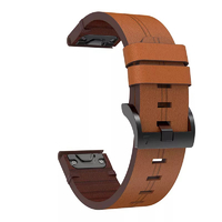 Кожаный ремешок для часов Garmin Fenix 5/6, Forerunner 935/945 22 Watch Bands Brown Leather