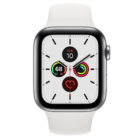 Смарт-часы Apple Watch Series 5 LTE 44mm Steel w. White b.- Steel (MWW22)