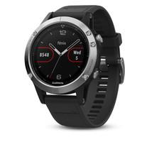 Спортивные часы Garmin Fenix 5 серебристые с черным ремешком