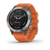 Спортивные часы Garmin Fenix 6 Pro Sapphire - Titanium with Ember Orange Band