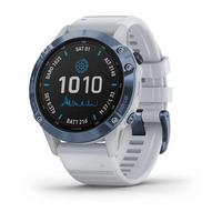 Спортивные часы Garmin Fenix 6 Pro Solar Edition Mineral Blue Titanium with Whitestone Band