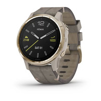 Спортивные часы Garmin Fenix 6S - Pro and Sapphire Editions - Light Gold-tone with Shale Gray Leather Band