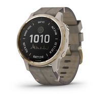 Спортивные часы Garmin Fenix 6S - Pro Solar Edition Light Gold with Shale Gray Suede Band