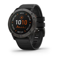 Спортивные часы Garmin Fenix 6X - Pro Solar Edition - Titanium Carbon Gray DLC with Black Band
