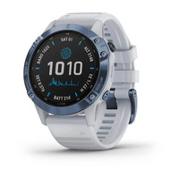 Спортивные часы Garmin Fenix 6 Pro Solar Edition Mineral Blue Titanium with Whitestone Band